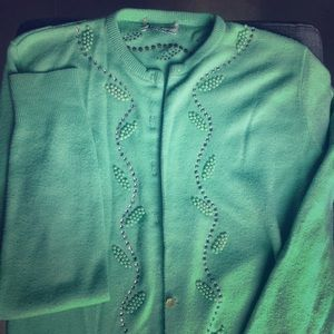 Vintage 1950s Mint Green Cardigan